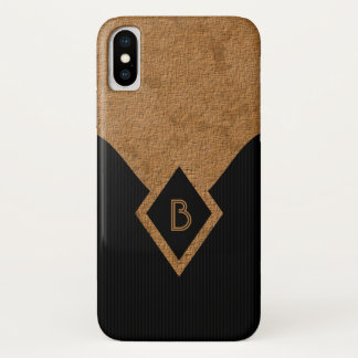Classy Elegant Black Pinstripe and Tan Monogram iPhone X Case