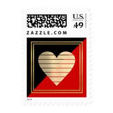 classy elegant black + red love heart postage