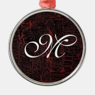 Classy Elegant Cracked Leather Custom Monogram Christmas Ornament