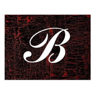 Classy Elegant Cracked Leather Custom Monogram Postcard