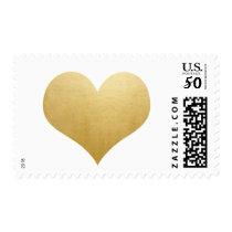 Classy Elegant Faux Gold Foil Simple Heart Wedding Postage
