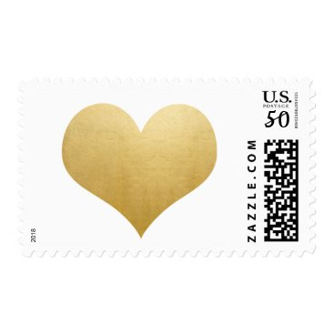 Valentines Themed Classy Elegant Faux Gold Foil Simple Heart Wedding Postage