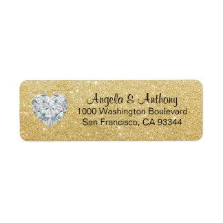 Classy Elegant Glitter GOLD Wedding Return Address Label