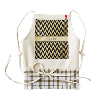 Classy Elegant Gold Chevrons Zazzle HEART Apron