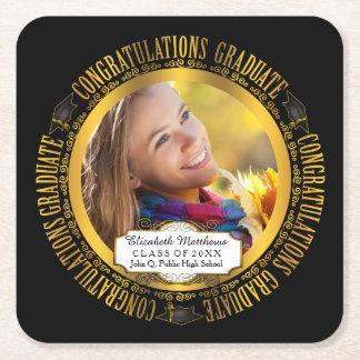 Classy Elegant Graduation Photo Square Paper Coaster