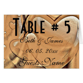 Classy Elegant Hearts Leather Wedding Table & Menu Card