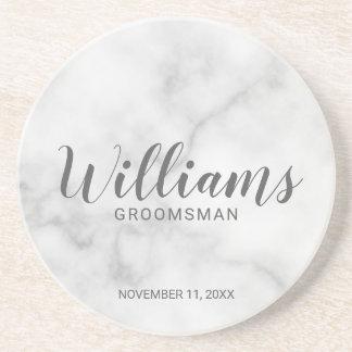 Classy Elegant Marble Personalized Groomsmen Coaster