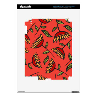 Classy & Elegant Red Floral Pattern iPad 3 Decals