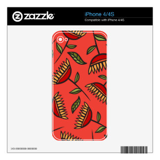 Classy & Elegant Red Floral Pattern Skins For iPhone 4S