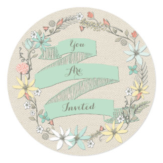 Classy Engagement Party Floral Wreath and Banner Card