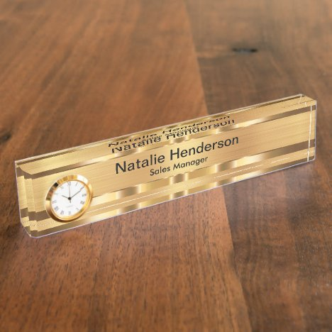 Classy Executive Gift Gold Tone Desk Name Plate