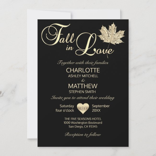 Classy FALL IN LOVE Black Gold Maple Leaf Wedding Invitation