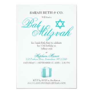 Classy Fashion Blue Theme Bat Mitzvah Birthday Card