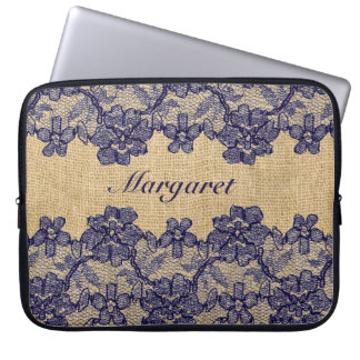 Classy Faux Burlap and Navy Lace Laptop Sleeves