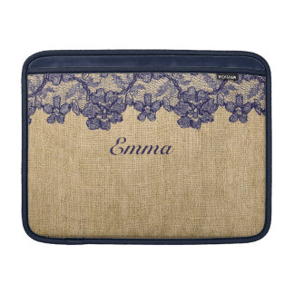 Classy Faux Burlap and Navy Lace MacBook Sleeve