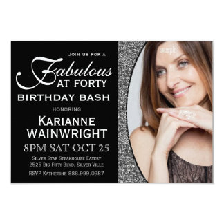 Classy Faux Glitter Photo 40th Birthday Party Card