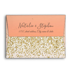 Classy faux gold confetti blush wedding collection envelope