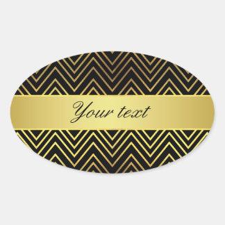 Classy Faux Gold Foil Chevrons Oval Sticker