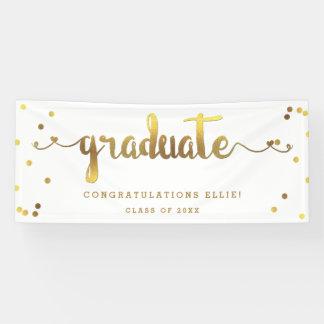 Classy Faux Gold Foil Confetti Graduate Banner