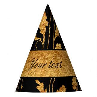 Classy Faux Gold Foil Flowers on Black Party Hat