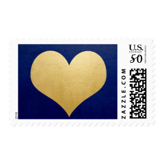 Classy Faux Gold Foil Heart Navy Blue Wedding Postage