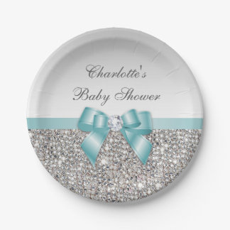 Classy Faux Teal Bow Silver Sequins Baby Shower Paper Plate