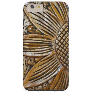 Classy Faux Wood Texture Sunflower Photo Tough Tough iPhone 6 Plus Case