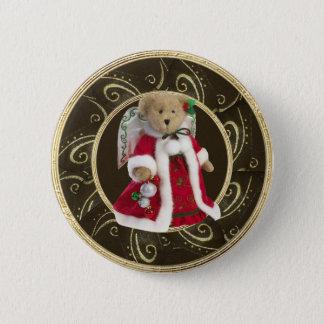 Classy Festive Angel Teddy Bear Button