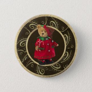 Classy Festive Girly Teddy Bear Button