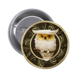 Classy Festive Snowy Owl Gold & Brown Button