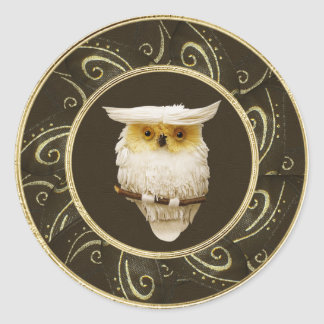 Classy Festive Snowy Owl Gold & Brown Stickers