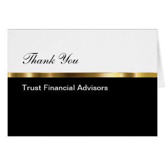 Classy Financial Advisor Business Thank You Card