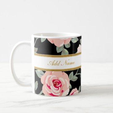 Coffee Themed Classy Flora Monogram Coffee Mugs