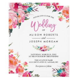 Classy Floral Blossom Watercolor Flowers Wedding Card