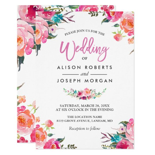 Watercolor wedding invitations announcements zazzle classy floral blossom watercolor flowers wedding card junglespirit Image collections