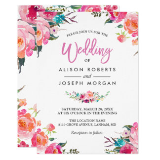 Classy Floral Blossom Watercolor Flowers Wedding Invitation