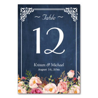Classy Floral Blue Chalkboard Wedding Table Number