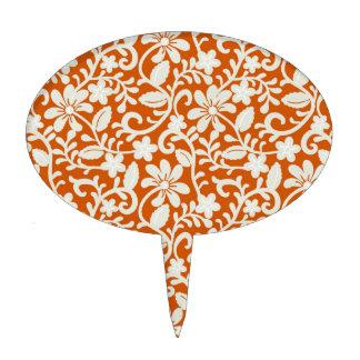 Classy Floral Damask Burnt Orange Pattern Cake Topper