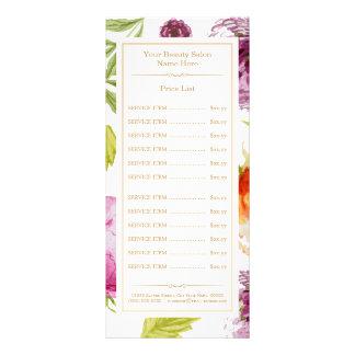 Classy Floral Decor Beauty Salon SPA Price List Rack Card