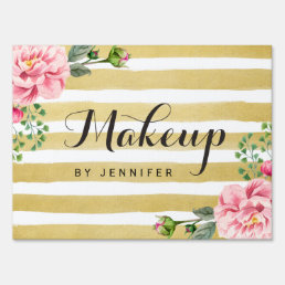 Classy Floral Gold Stripes Makeup Beauty Salon Lawn Sign