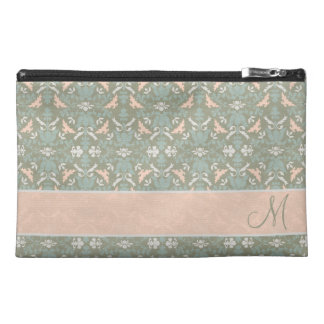 Classy Floral Monogram Damask Travel Accessories Bags
