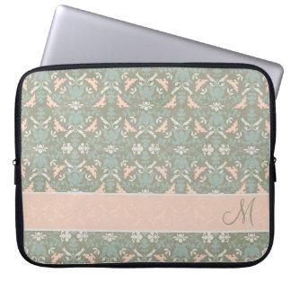 Classy Floral Monogram Damask Computer Sleeve