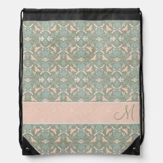 Classy Floral Monogram Damask Backpacks