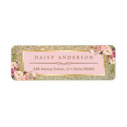 Classy Floral Pink Gold Glitter Sparkles Label