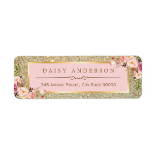 Classy Floral Pink Gold Glitter Sparkles Label at Zazzle