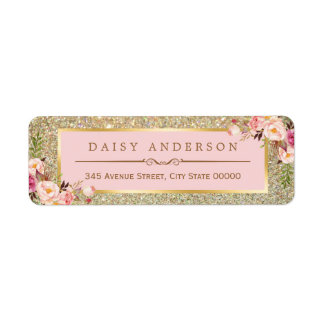 Classy Floral Pink Gold Glitter Sparkles Label