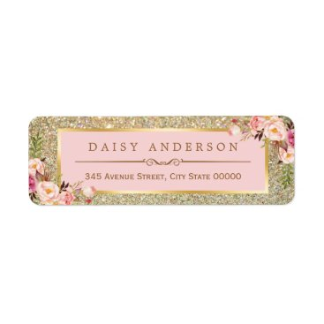 CardHunter Classy Floral Pink Gold Glitter Sparkles Label