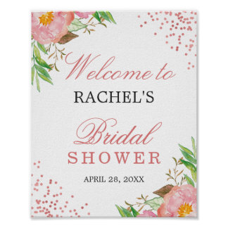 Classy Floral Rose Pink Confetti Bridal Shower Poster