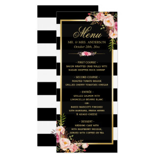 Classy Floral Stripes Gold Frame Wedding Menu Card