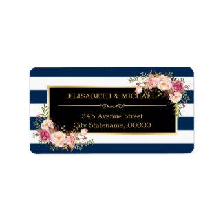 Classy Floral Wrap Navy Blue DIY Stripes Color Label